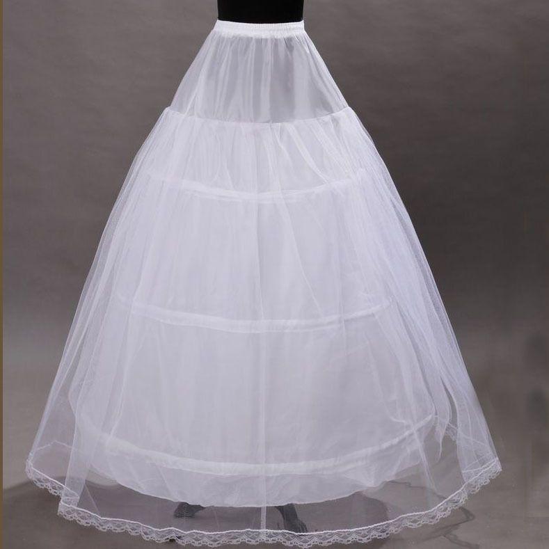 Hot Sale Em armazém 3 Hoop vestido de baile nupcial Petticoat óssea completa Crionline Petticoat casamento saia Deslize New frete grátis