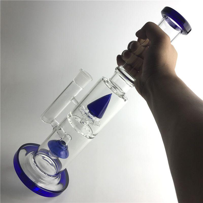 Colorful Bong 18 millimetri Tubi di acqua di vetro con 14,5 pollici 1 KG Blue Light Rocket Big Thick Recycler Heady Beaker Beaker fumatori