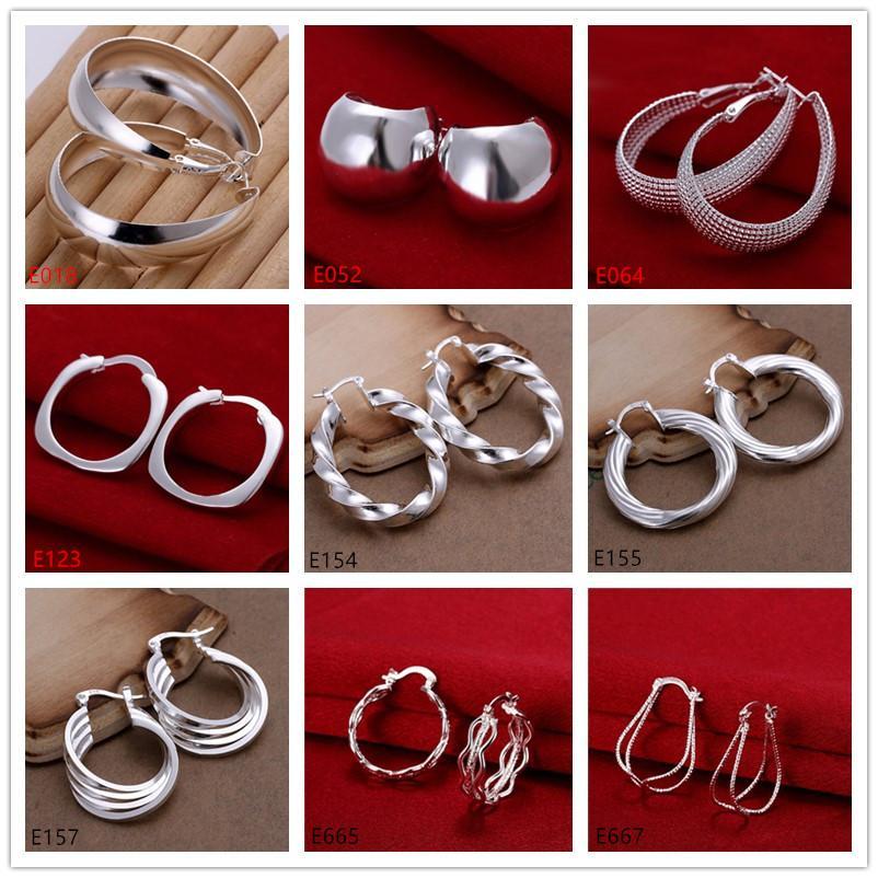 Pendiente chapado en plata esterlina para mujer recién llegada 10 pares mucho estilo mixto EME61, placa de moda nueva 925 pendientes de clip de oreja de plata