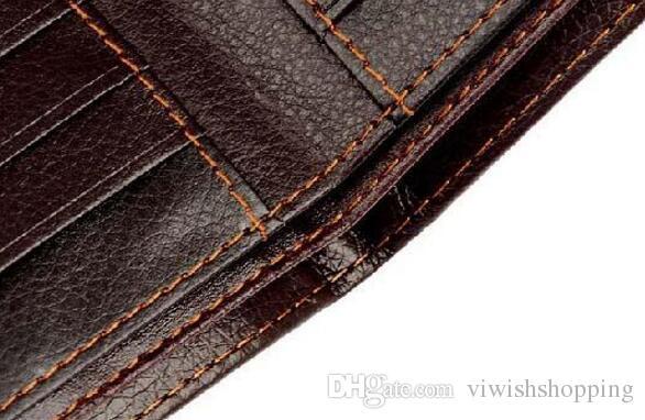 Nueva calidad superior 2017 de cuero genuino para hombre billetera de lujo Casual diseñador corto titular de la tarjeta bolsillo moda monedero carteras para hombres