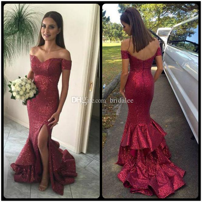 9a85258a849 2017 Burgundy Bling Bling Mermaid Prom Dresses Sexy Off Shoulder Sequined  High Split Tiers Skirt Long Evening Party Wear Formal Dresses