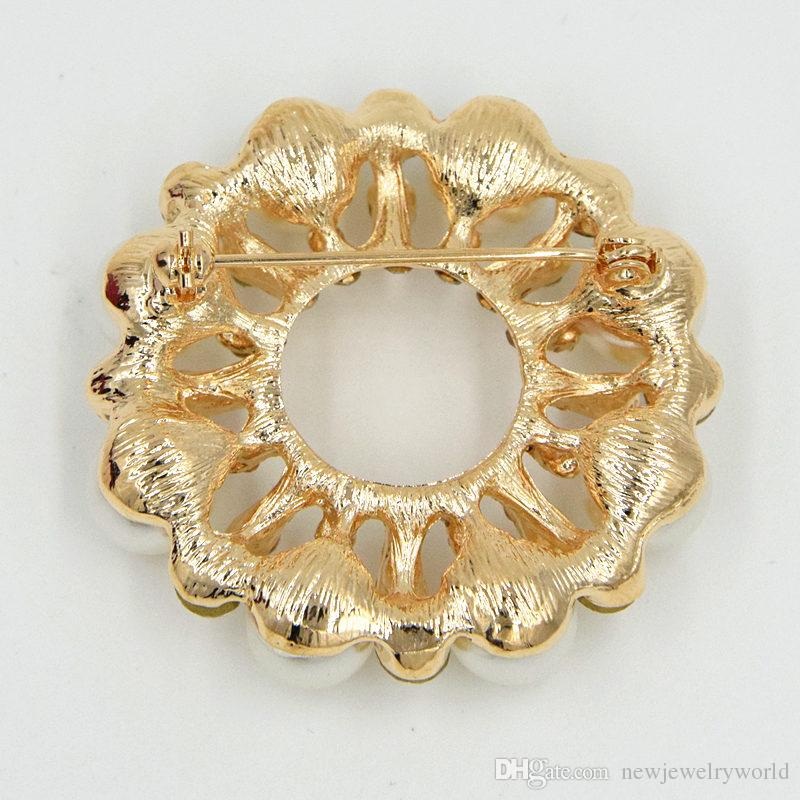 High Quality Fancy Gold Plated Imitation Pearl Round Flower Brooch Clear Crystals Rhinestone Women Wedding Bouquet Pins Factory Direct Sale!