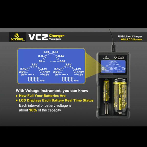 Аутентичные LG Hg2 зарядное устройство Xtar VC2 18650 батареи USB зарядное устройство Fit 18650 18350 18500 литий аккумуляторная батареи высокого слива емкость тест