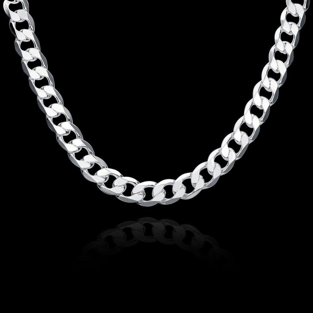 Art und Weise einfacher Edelstahl überzog die überzogene Halskette 12mm der silbernen überzogenen starken Kette 12mm für Männer