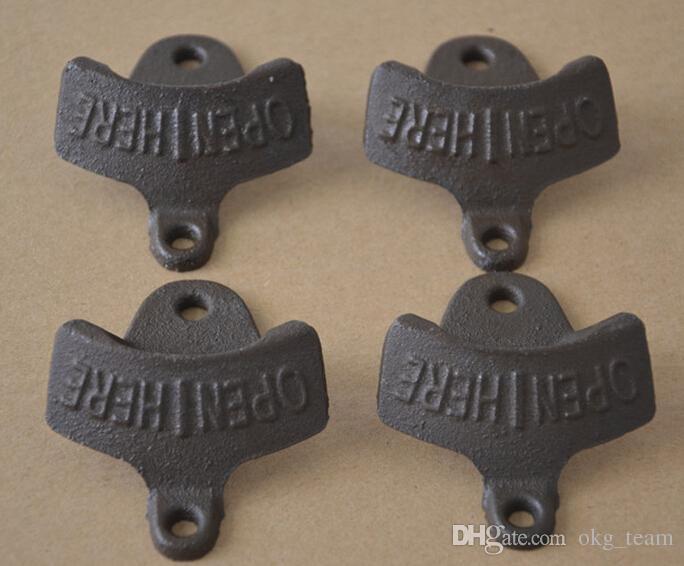 Metal Retro Open Here Wall Opener Hanging Hook Beer Bottle Openers Mount Copper Cap Rustic Cast Iron Cafe Bar Wall