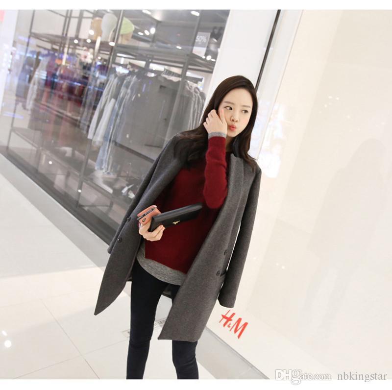 Sonbahar Kış Moda Kadınlar Yün Coat Tek Düğme Uzun Ceket ve Ceket WoolBlends Kaşmir takım Ceket Artı boyutu