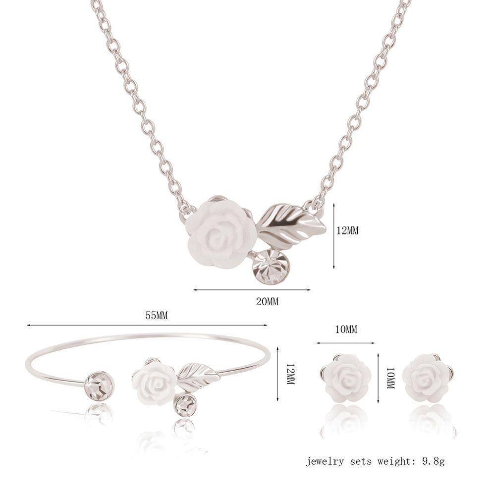 Bracelet Earrings Necklace Jewelry Set Elegant Fashion Women Rhinestone & Acrylic Rose White Gold Plated Party Jewelry 3-Piece Set JS261