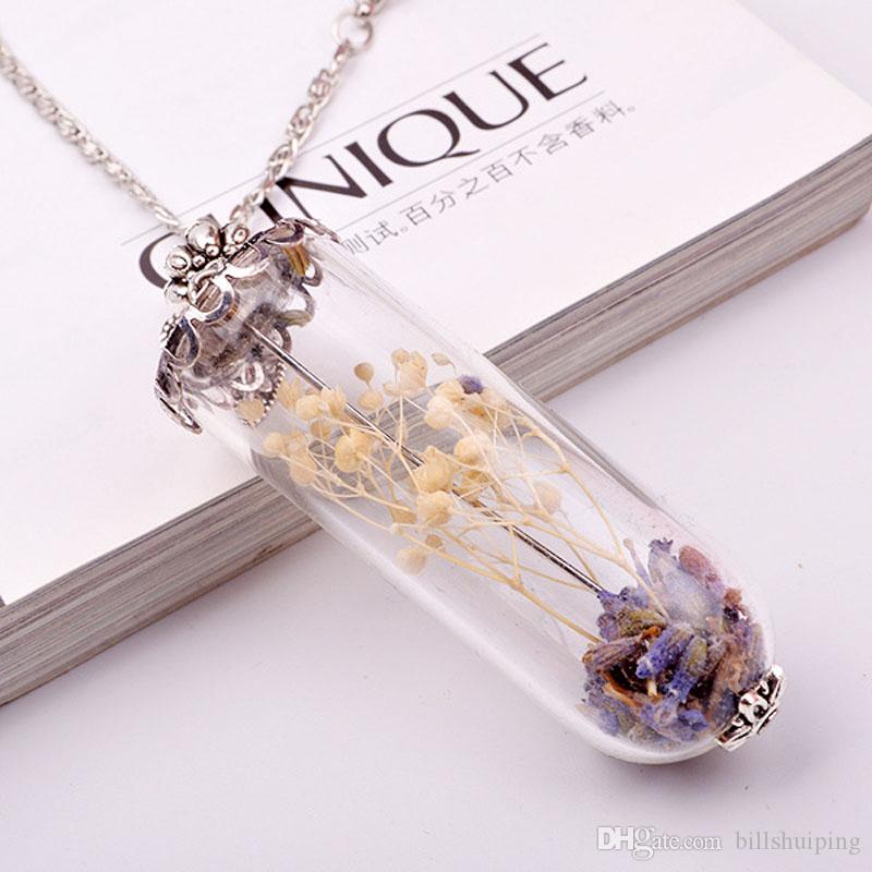 Long Pendant Necklace DIY Wishing Bottle Leaves Dry Flowers Lavender Crystal Fine Jewelry Love Gifts Necklaces For Women