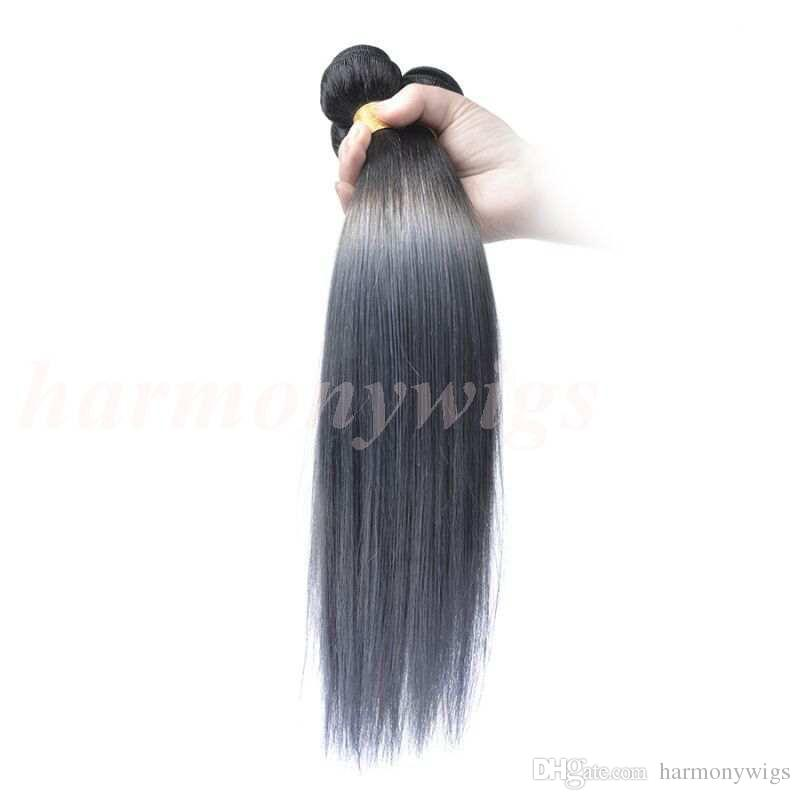 Ombre Brazilian Hair Human Hair Bundles Two Tone Wefts Peruvian Malaysian Indian Mongolian Virgin Remy Hair Extensions Wholesale