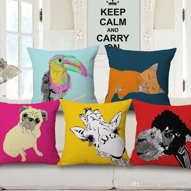 Fun Animal Print Cushion Cover Pet Dog Pug Throw Pillow Case