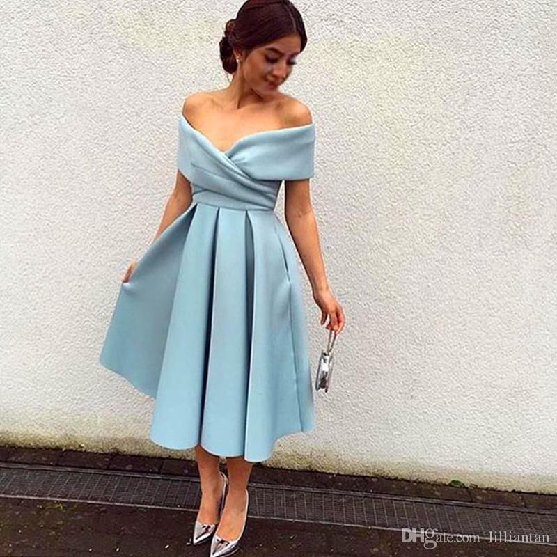 Homecoming Dresses 2019 New Simple But Elegant Sky Blue Off The Shoulder Pleated Tea Length Party Prom Dresses po95