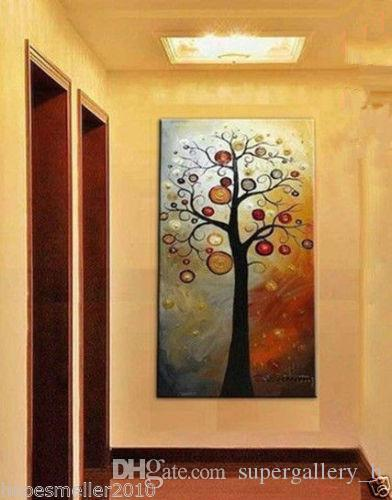2019 Framed Pure Handicrafts Modern Abstract Art Oil Painting Tree
