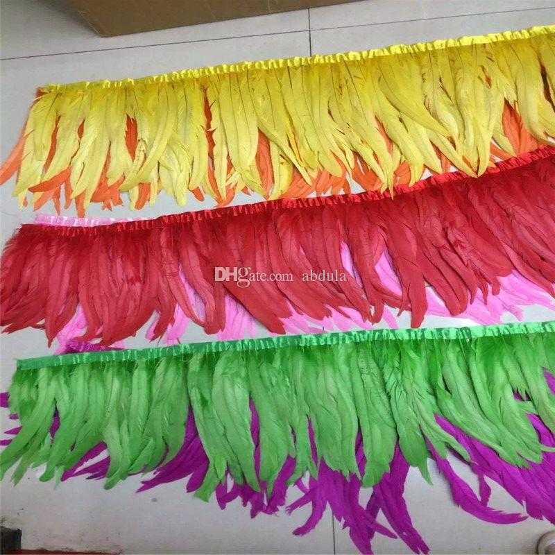 2Yards/pcs Yellow Rooster Feather Trimming Rooster Coque Tail Feather Trims Chicken Feather on Satin Coque Rooster Tail Feather Trimming