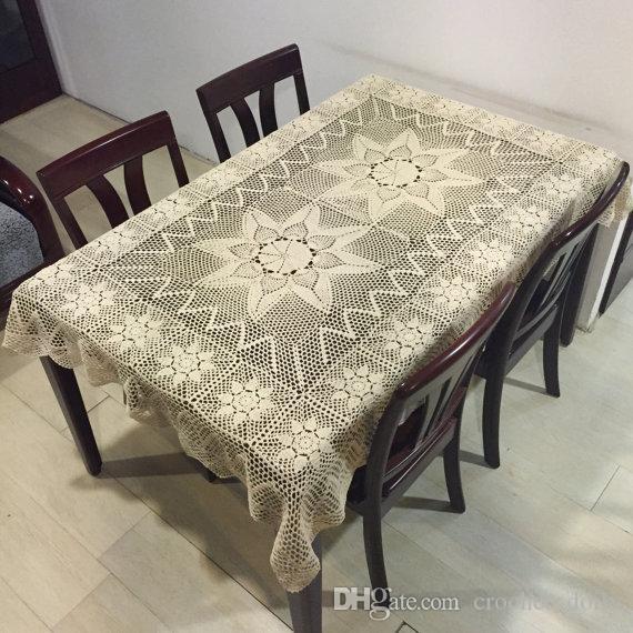 100% di copertura tavolo mano oblungo, a mano tovaglie uncinetto, cotone tovaglia rettangolare, regalo di compleanno Opzioni mamma, bianco e beige