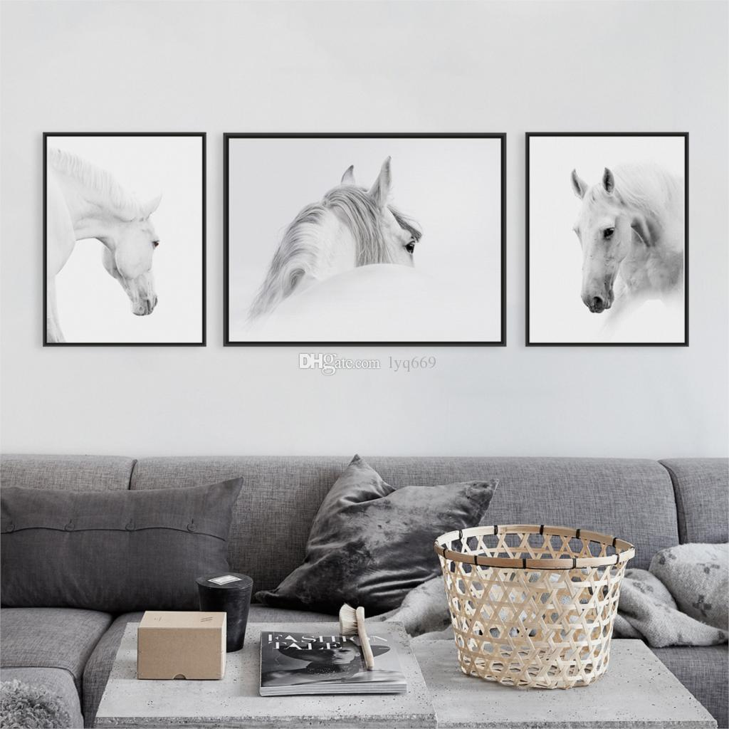 Triptych Modern White Horse Head Photo A4 Poster Impression Animals Wall Picture Nordic Home Decor Canvas Painting No Frame Gift