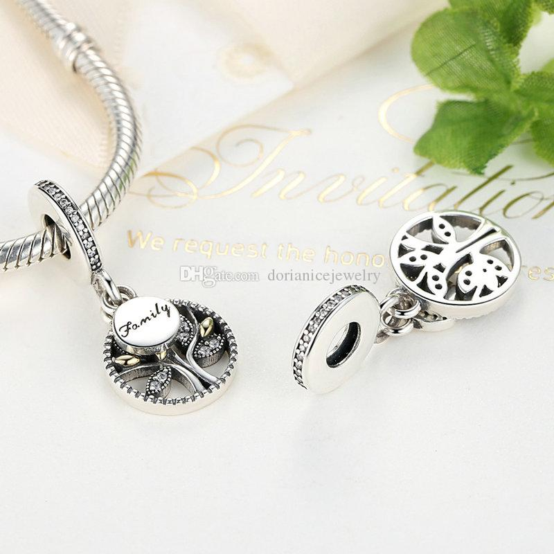 Genuine 925 Sterling Silver Charms Family Tree Pendant Dangle 14K Gold & Clear CZ for Pandora Style Bracelets or Necklaces S313