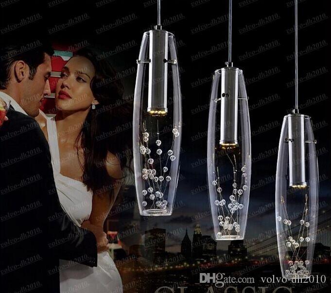 Luxo moderno de Alta Potência LEVOU Sala De Jantar Lâmpadas Pingente De Vidro Vaso Garrafas De Luz De Cristal Flores Dentro Bar Restaurante Balcão LLFA11