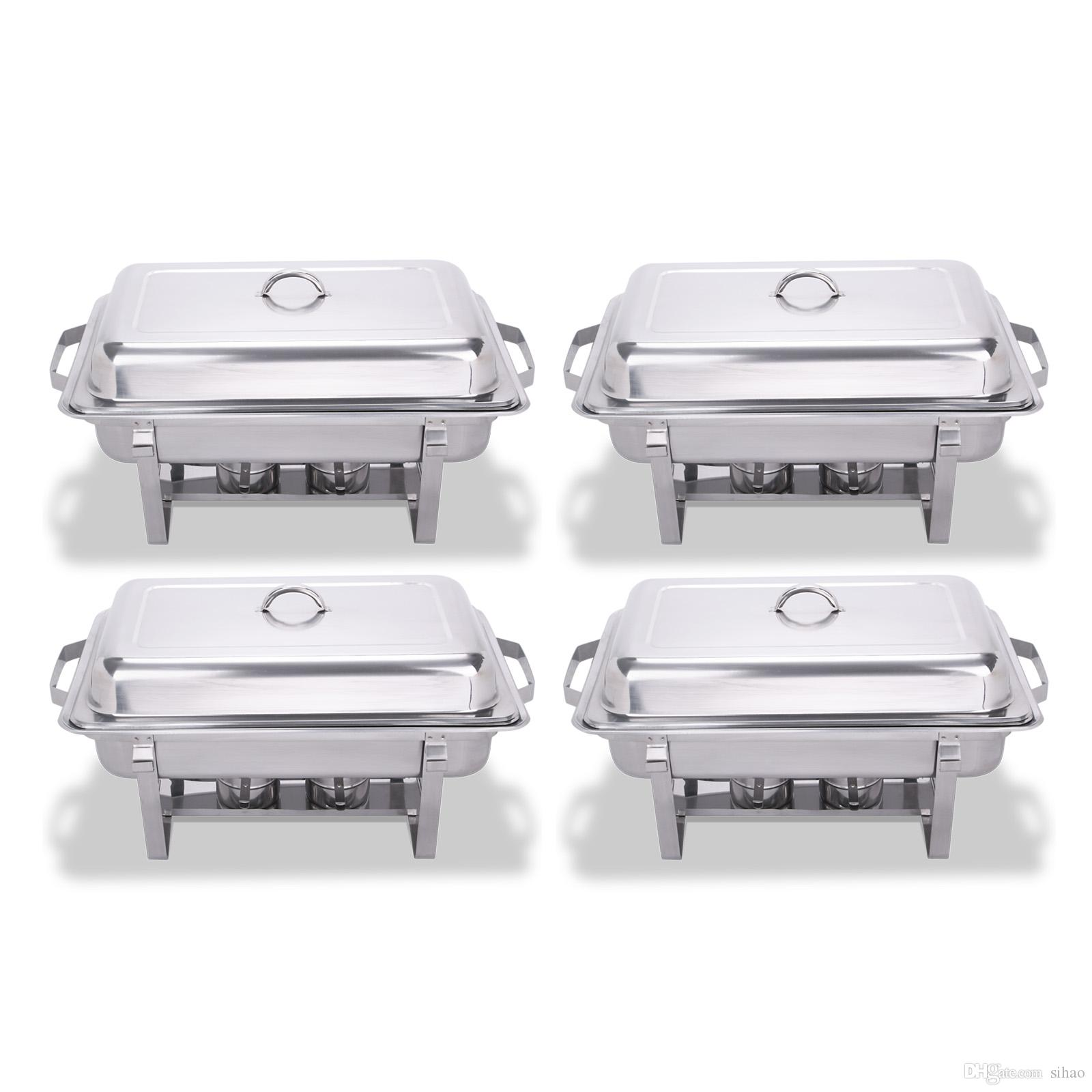 2019 4 Pack 8 Quart Stainless Steel Folding Chafer Rectangular Chafing Dish Sets From Sihao 11056