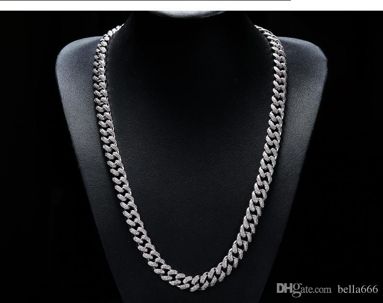 18K Real Gold Plated Men Cuban Chain 12mm Width Cubic Zirconia Necklace Hiphop Triple Necklaces Copper Jewelry 20inch 24inch 28inch
