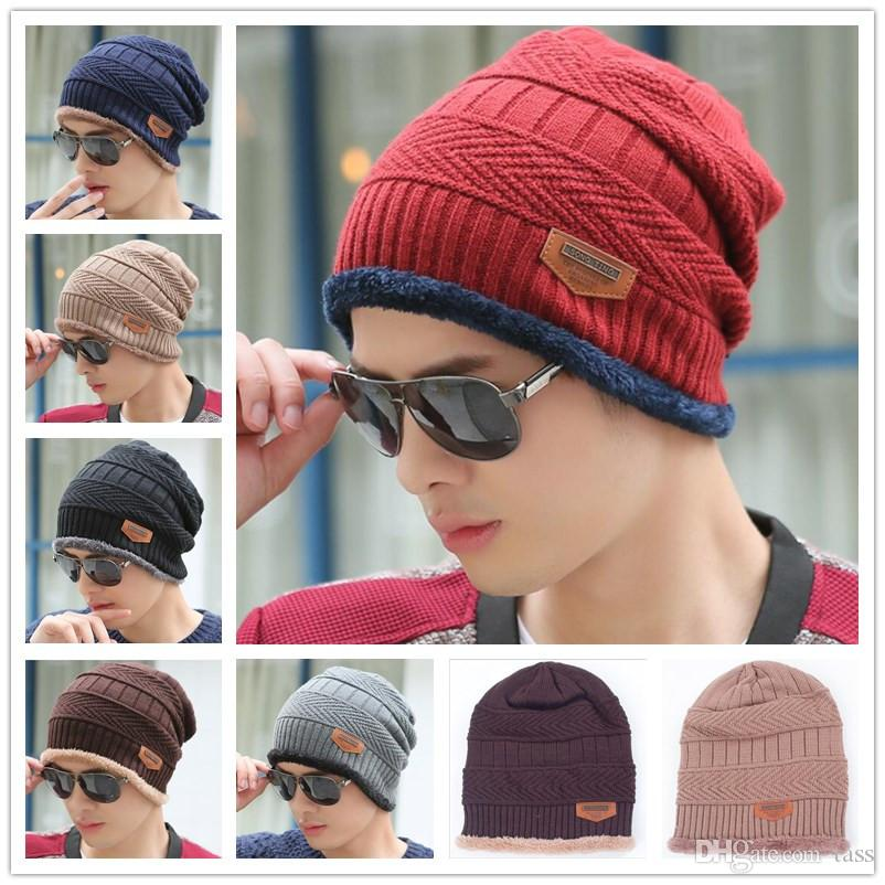 red Winter Unique Personality Hoop pin Solid Color Wool Knit hat Cap Keep Warm Couple Lover Thick Cotton Cap Ear Baotou