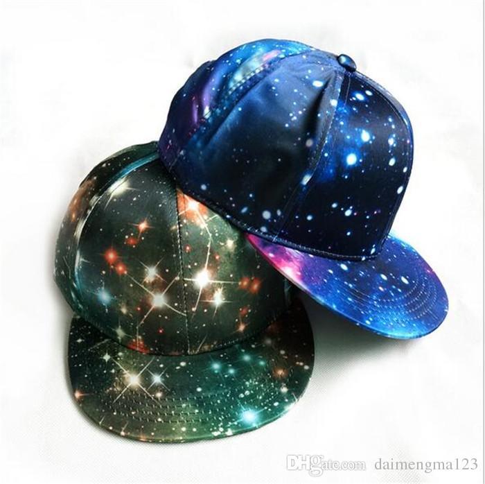 Moda Kore Galaxy Desen Uzay Baskı Snapback Stil Kadın Erkek Şapka Unisex Moda Beyzbol Hip Hop Kap D765