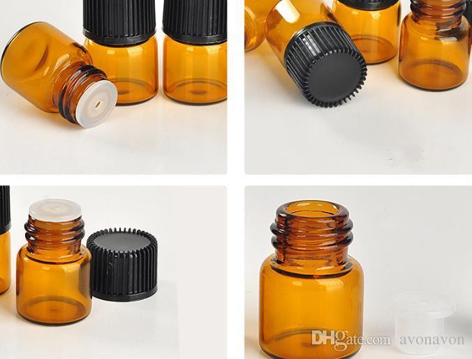 2017 NEW 1ML Perfume Amber Mini Glass Bottle, 1CC Amber Sample Vial,Small Essential Oil Bottle Factory price N708