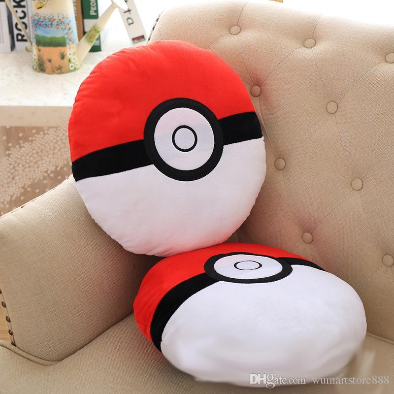 New Cartoon Poke Ball Figures Plush dolls toys Pillow Cushion For Car Children Pikachu Ball Stuffed Doll 35*35*10cm