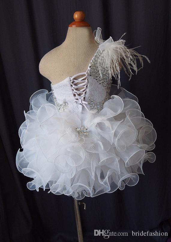 One shoulder fur lace up flower girls organza beads cupcake little girls pageant dresses kids toddler glitz prom Infant ball gowns