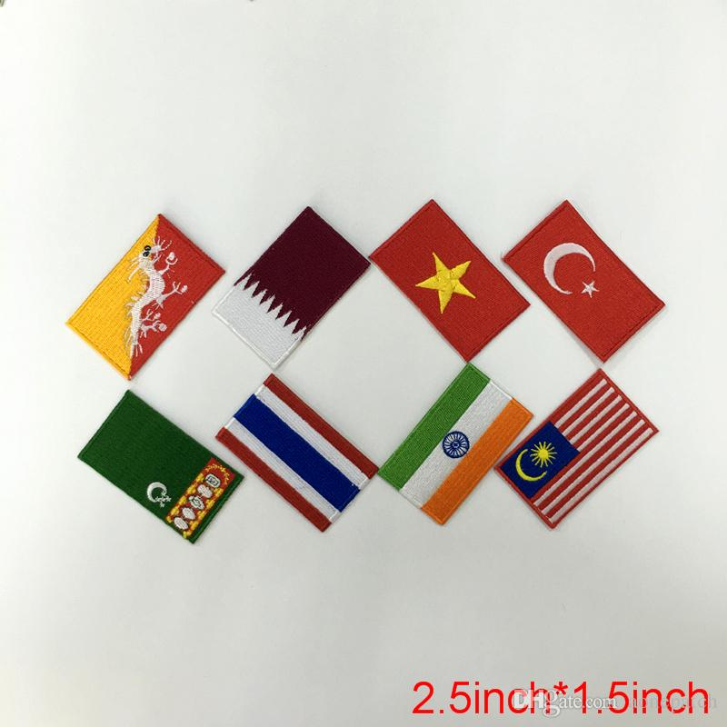 Asian countries Badge Multi-designs badges flags patch for clothing custom badge fabric applique decoration