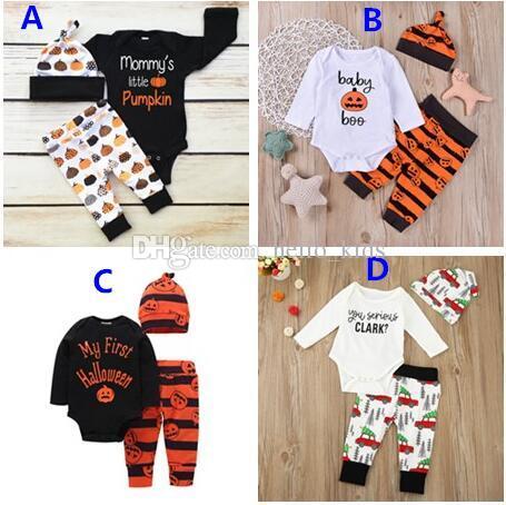 2017 INS recién nacido niños calabaza Halloween Navidad trajes bebé niños niñas manga larga Romper + Pants + Hat 3 piezas conjuntos