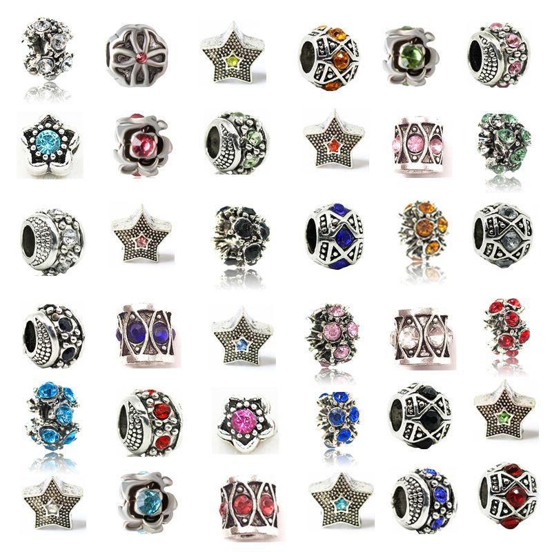 Mezclar aleación de cristal retro del encanto del agujero grande de la cuenta de cristal con el sello 925 joyería de moda Mujeres Estilo Europeo Por Pandora pulsera de la promoción