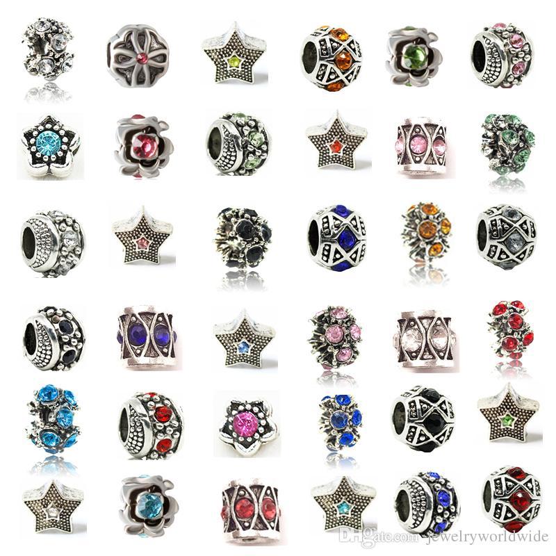 Pandora bilezik Promosyon için 925 Damga Moda Kadınlar Takı Avrupa Style ile Alaşım Kristal Charm Retro Büyük Delik Cam Boncuk Mix