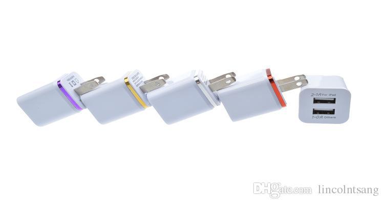 Atacado 200 pçs / lote Colorido 2A + 1A EUA Plug AC Power Adapter Início parede Trave 2 portas dual usb carregador para iphone 4 5 6 plus para samsung htc