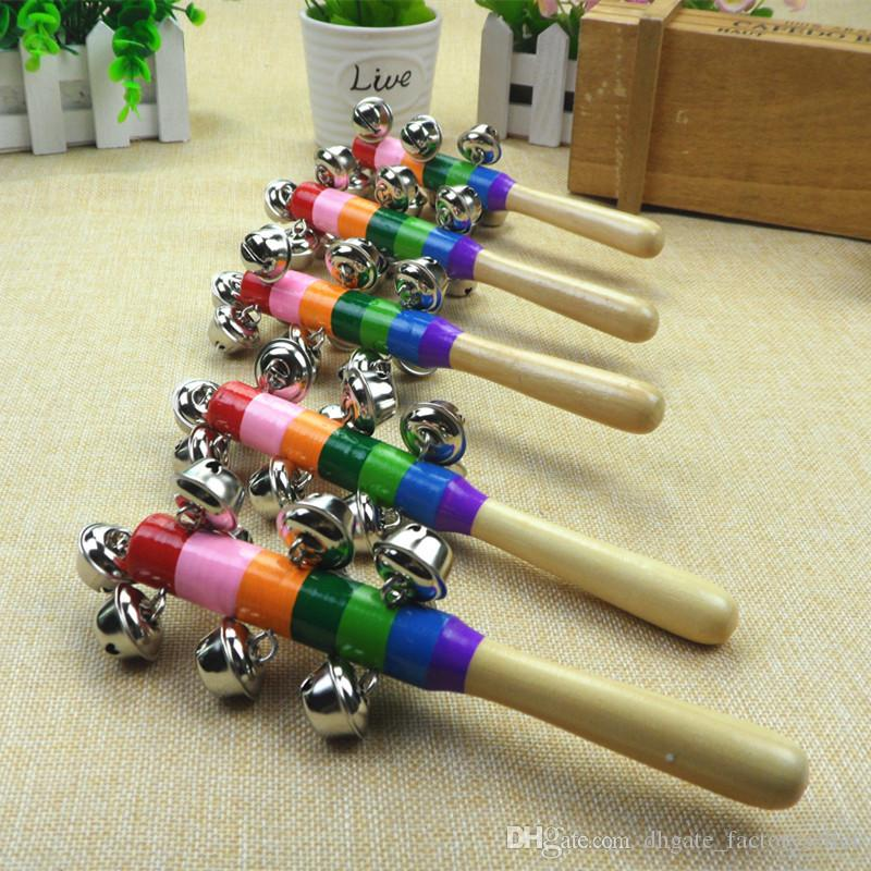 Baby Rainbow Pram Handle 18CM Wooden Bell Stick Shaker Rattles Toy #2999