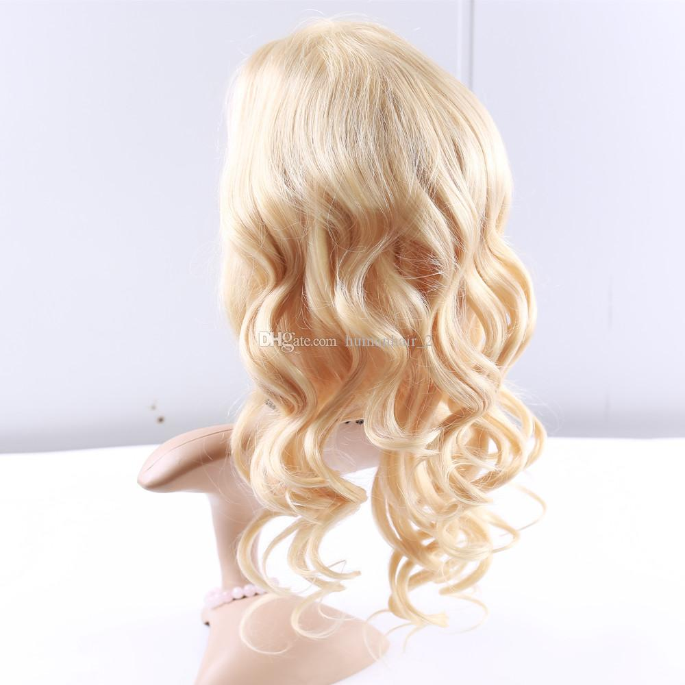 Full Lace Human Hair Wigs Blonde Color 613 Body Wave Wigs With Baby Hair 150 Density Bleached Knots Brazilian Virgin Hair Glueless