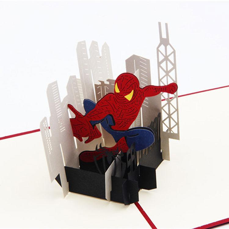 Hot Cartoon Spiderman Creative Pop Up Card Vintage 3D Greeting Cards Lovely Postcard Birthday Musical From Billshuiping