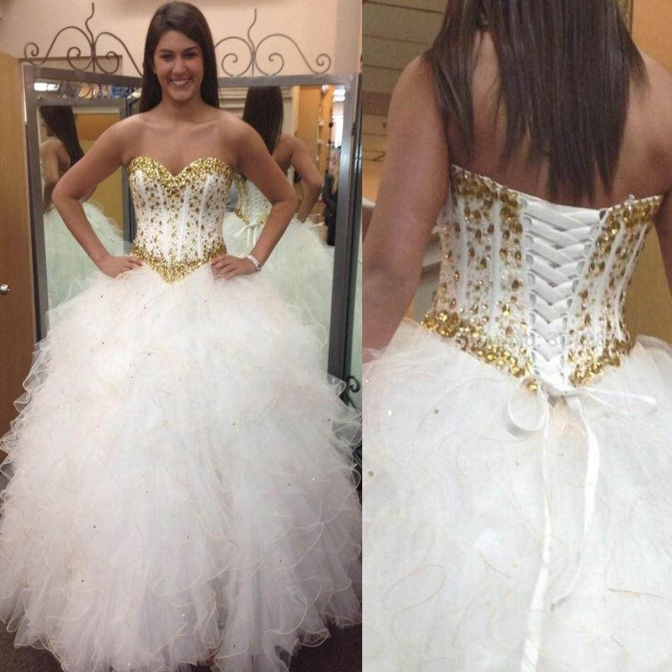 White Wedding Gown Gold: Discount 2016 White And Gold Long Puffy Wedding Dresses