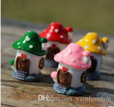 4 Renk DIY Mini Mantar Ev Figürleri Ofis Masa Bonsai Dekor Küçük Saksılar Bahçe Dekor Ev Bahçe Bonsai