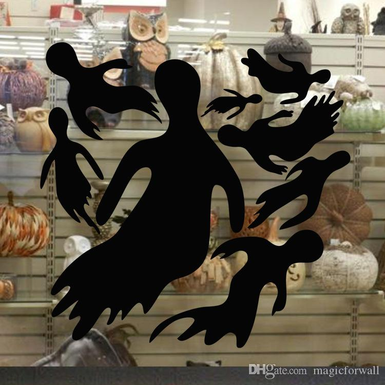 Black Halloween Ghosts Wall Stickers Store Window Glass Decor Wall Poster Festival Home Decor Wallpaper Art Removable PVC Wall Applique