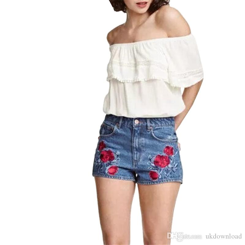 40bdf3fb2137 Women Sweet Floral Embroidery Blue Denim Shorts Plus Size Rose ...