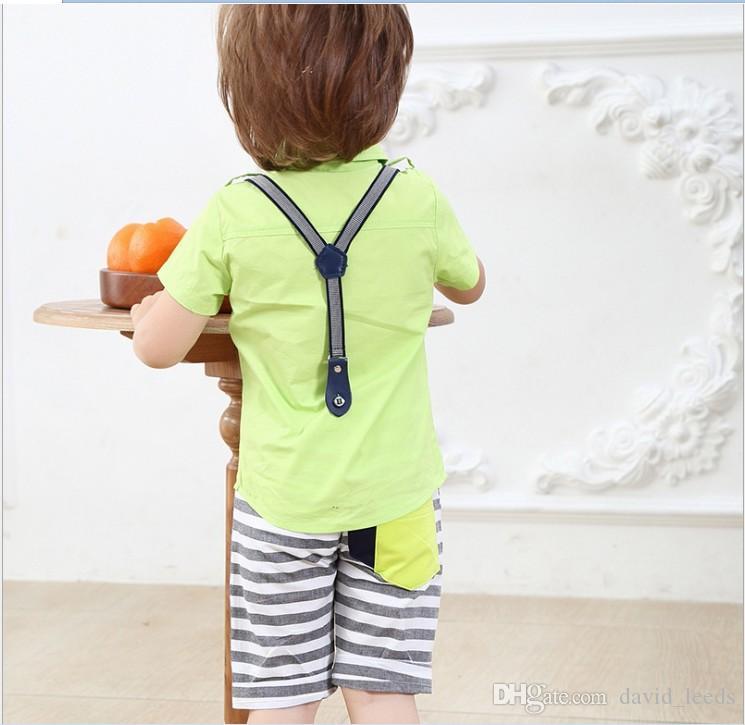 2016 Estate Ragazzi Style Set di abbigliamento bambini Camicia a maniche corte bambini + Bowtie + Pantaloni a righe Set Completo neonato Completi bambini 80-120 cm