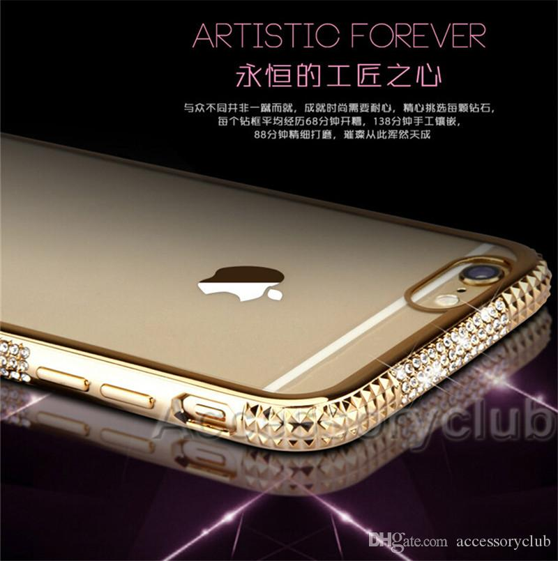 Luxury Bling Diamond Electroplate Frame Bumper Soft TPU Case For iPhone 5 SE 6 6S Plus Colorful Clear Cover Back Protector Skin Shell DHL