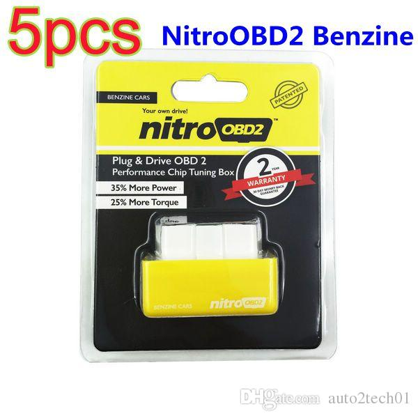5 pz All'ingrosso Plug And Drive NitroOBD2 Performance Chip Box Tuning Per Benzine Auto Chip ECU Tornitura OBD2 Scanner Diagnostico Spedizione Gratuita