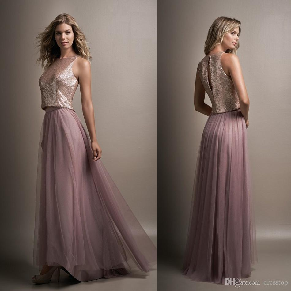 Stylish Two Pieces Bridesmaid Dresses Cheap Long A Line Jewel Neck ...
