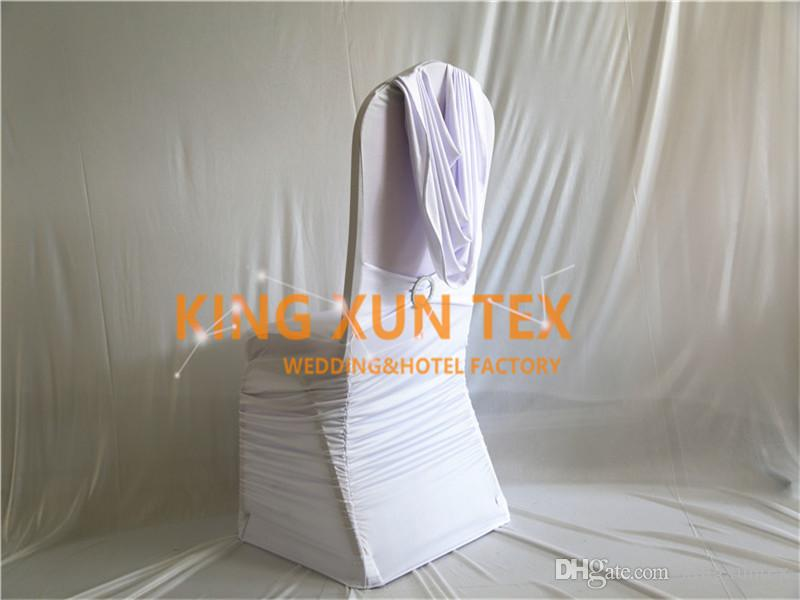 Fabulous White Color Pleated Lycra Spandex Chair Cover Back With Swag Drape For Wedding And Event Decoration Free Shipping Caraccident5 Cool Chair Designs And Ideas Caraccident5Info