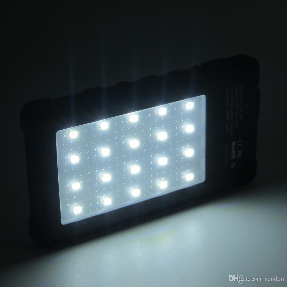Usine wholelsae 8000mAh étanche Chargeur solaire avec 20 LED, Super Solar Power chargeur Banque double port USB pour téléphone mobile / tablettes