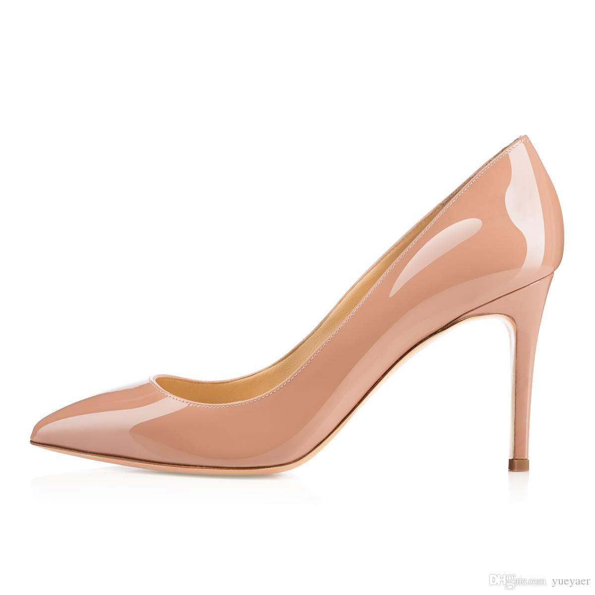 Karmran das senhoras das mulheres handmade marca de moda bigalle 85mm estilo francês simples office party bombas de sapatos bege z6286