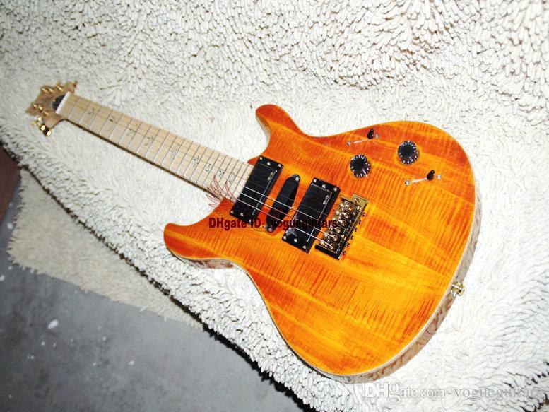 A guitarra feita sob encomenda amarela a mais nova da guitarra elétrica da loja do OEM VOS a guitarra do OEM do Fingerboard do bordo