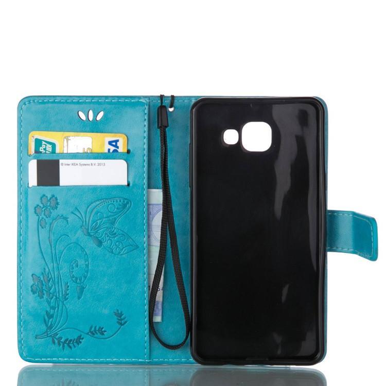 Luxus geprägte Schmetterling Stil Flip PU Leder Stand Wallet Case für Samsung Galaxy S7 Rand S6 Rand Note 5 S5 Phone Cases