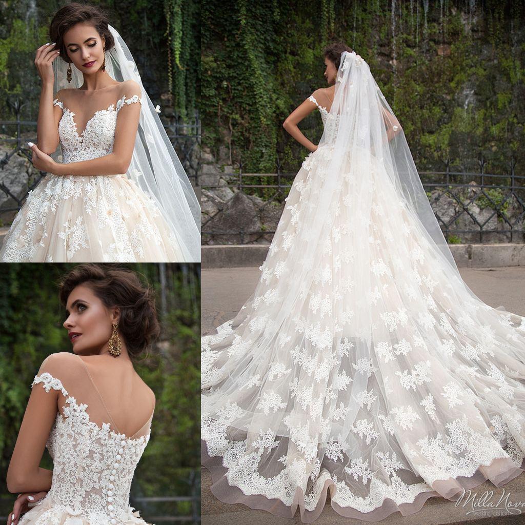 89ea1ad3eb4 Discount Real Image Milla Nova Wedding Dresses Lace Applique Vintage Bridal  Dress Sweep Train Plus Size A Line Wedding Gowns A Line Halter Wedding Dress  A ...